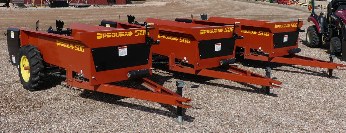 new -- pequea 50 bushel ground drive manure spreaders